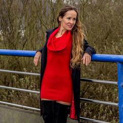 Red dress (ZoRRaW photography) Tags: portrait outdoor brown hair long longbrownhair red dress black coat overkneeboots fernandoberlin fernando berlin