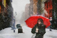 snow and red umbrella (skizo39) Tags: collage layers art digitalprocessing digitalart digitalpainting photomanipulation colors colorful graphical design creation artistic woman umbrella