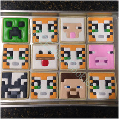 Minecraft (cREEative_Cookies) Tags: decorated sugar cookies creeative decorating food art birthday party theme custom desserts sweets gamer video game pixel 8bit minecraft