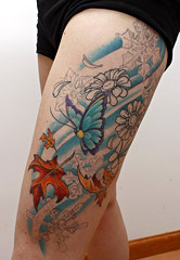 Thigh - Session 2 (Kerrie Lynn Photography (Sugaree_GD)) Tags: flowers selfportrait leaves tattoo female butterfly four snowflakes leaf seasons 4 leg thigh inprogress inprocess staceysharp sugareegd