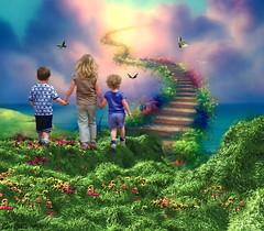 Standing on the edge of Heaven ... (rubyblossom.) Tags: children heaven paradise steps mmm challenge3 rubyblossom rubystreasures