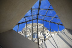 Louvre (Arvind ( www.arvindbalaraman.com )) Tags: city light sky paris france reflection building castle art history water beautiful museum architecture modern night clouds french landscape reflecting mirror golden evening twilight pond europe cityscape afternoon place pyramid louvre famous wing entrance dramatic landmark palace exhibition que historic shape chateau eropean
