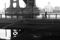 D.U.M.B.O. 2 (Atomox) Tags: bridge people blackandwhite newyork reflection photography downtown manhattan manhattanbridge eastriver 365 eastside artistsontumblr