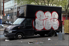 Gee (Alex Ellison) Tags: urban graffiti painted lorry chrome damage van gee throwup throwie