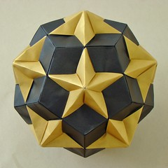 Compound of Dodecahedron and Great Dodecahedron (sin cynic) Tags: sculpture paper compound triangle origami geometry shape pentagon icosahedron dodecahedron solid papercraft polyhedron stellation stardream greatdodecahedron