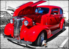 '38 Chevy Hot Rod (Photos By Vic) Tags: old red classic chevrolet car automobile antique 1938 chevy hotrod vehicle carshow 38