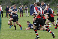 Centre Willie Todd with followers (MRFC1902) Tags: murrayfield away 2013 1stxv