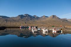 At the harbour (*Jonina*) Tags: mountains reflection boats iceland harbour 500views sland btar speglun fjll 2000views hfnin fskrsfjrur faskrudsfjordur jnnagurnskarsdttir digritindur