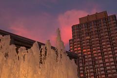 Fountain With Sunset (Roblawol) Tags: nyc newyorkcity pink sunset sky ny newyork fountain skyline dusk manhattan waterfountain lincolncenter