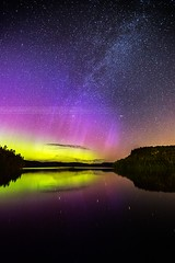 Northern Lights (P  M) Tags: sky lake reflection pose way stars long exposure lac exposition ciel aurora lumiere milky clair nord voie borealis aurore boreale leau longue lacte