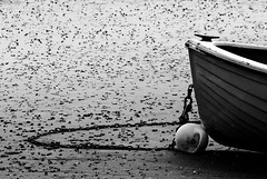 Dumfries boat III BW (Clandrew) Tags: wood beach boats scotland sand harbour chain maritime bouy dinghy dumfries nith carsethorn clandrew