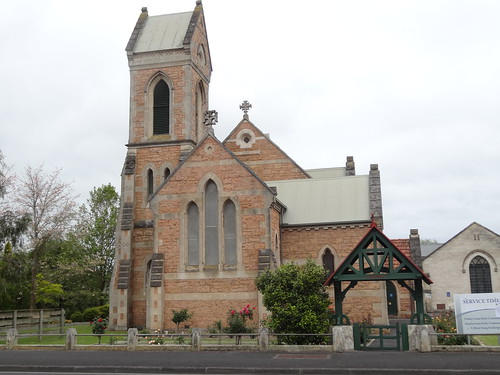 Mt Gambier Anglican Church with fine stone tower and wooden lych gate. Christ Church opened 1866.