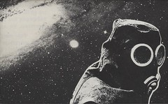 Lonely spaceman (Johannes G.) Tags: collage paperart stars space spaceman gasmask cutandpaste