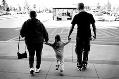 Walking Together (Vegan Butterfly) Tags: family grandma bw white black love girl kid holding hands dad child grandmother father daughter together grandchild granny