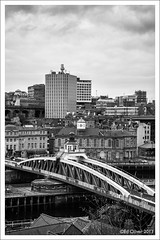 The Toon (Seven_Wishes) Tags: urban blackandwhite cityscape rooftops newcastleupontyne rivertyne newcastlequayside canonef24105mmf4lis urbanex calecrosshouse niksilverefexpro theswingbridge vision:text=0533 vision:outdoor=0876