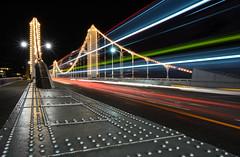 Chelsea bridge lights (sarah_presh) Tags: longexposure bridge bus london night dark lights chelsea rivets december colours trails le londonbus chelseabridge nikond7100