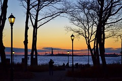 Sunset at Battery Park, 01.12.14 (gigi_nyc) Tags: nyc newyorkcity sunset batterypark statueofliberty