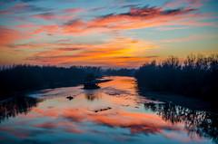 Mureș Sunset (DomiKetu) Tags: sunset reflection water clouds reflections river landscape nikon le romania d5100