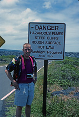 End of the road - Hawaii Volcanoes National Park (Ian E. Abbott) Tags: hawaii bigisland hawaiivolcanoesnationalpark hazardsign islandofhawaii hawaiivolcanoesnationalpark
