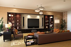 Classic-living-room-style-with-big-screen-tv-and-home-theatre-system