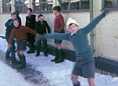 It's a slide (theirhistory) Tags: school boy snow ice hat classroom slide jumper shorts wellies eyepatch barelegs