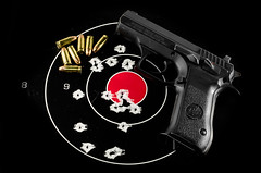 Target shooting - 9mm Desert Eagle (Gary Allman) Tags: handgun targetpractice semiautomatic targetshooting deserteagle 9mmcaliber journal2015