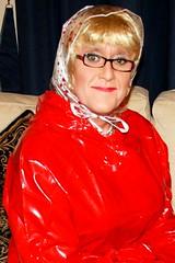 Red Plastic Mac (Miss Pakamac) Tags: rainbonnet plasticraincoat plasticrainwear plasticmac pakamac