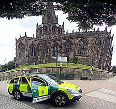 Perspectives.. (Mike-Lee) Tags: autostitch mike church car stitch shift perspectives ambulance hdr allsaints skoda yas rotherham rrv rotherhamminster skodascout aug2015 httpsenwikipediaorgwikiallsaintschurch