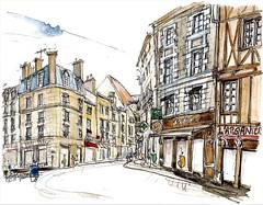 Poitiers, place Notre-Dame (Croctoo) Tags: croctoo croctoofr croquis watercolor aquarelle poitiers poitou poitoucharentes ville
