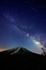 Fuji and Milky Way (Yuga Kurita) Tags: blue sky mountain japan night way stars landscape nikon fuji mt view divine 日本 fujisan nightscene milky starry 風景 yamanashi fujiyama milkyway starscape 星空 山梨 富士 nighscape 天の川 冨士山 星景 1424mm