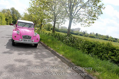 Rosie in the country-15 (magicalnights) Tags: pink wedding car derbyshire 2cv chic weddingcar shabbychicwedding sexyweddingcar 2cvweddingcar