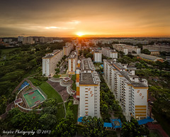 Vista Ablaze (t3cnica) Tags: city blue sunset urban panorama sun architecture landscapes twilight singapore long exposure mo hour vista ang hdb teck blending kio ghee vertorama