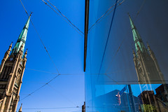 Twice the Magnificence (Matt M S) Tags: park street city blue summer sky urban toronto ontario canada streets reflection tower heritage clock church window glass beautiful st architecture canon reflections matt james mirror spring downtown king doors open cathedral bell metro religion gothic smith icon architectural belltower clocktower spire mirrored to gta 1853 iconic magnificent anglican revival blogto torontoist 2013 dot13 60d mattms