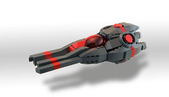 Striped Striker (Titolian) Tags: red ship lego space jets future spaceship striker prongs bley