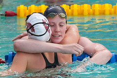 Missy Franklin embraces Kendyl Stewart after 200m backstroke (jdlasica) Tags: swimming swim hug sanfranciscobayarea bayarea santaclara canon5d sfbayarea athletes swimmers swimmeet olympians 2013 santaclaraswimmeet usaswimming olympicswimmers santaclaragrandprix 200backstroke santaclarainvitational missyfranklin eliteswimmers santaclaragrandprix2013 kendylstewart