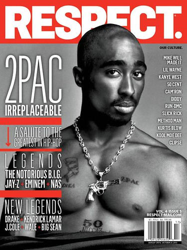 2 Pac on the cover of Respect Magazine October issue