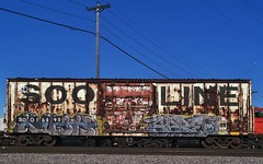 KUSH x SPRED (stateofoppression) Tags: old minnesota train bench graffiti panel tag minneapolis rusted boxcar piece soo mn freight rollingstock kush spred benching minnesotagraffiti mngraffiti freightporn