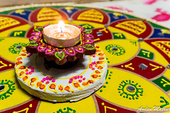 Lights and Colors (Amlan Mathur) Tags: light india lamp yellow festival asia floor handmade traditional decoration festivaloflight diwali hindu celebrate rangoli deepavali diya laxmi goddessofwealth