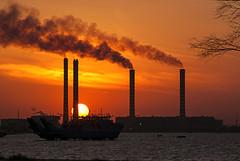Sunset (Azarbhaijaan) Tags: sunset red sea water port smoke bluesky kuwait powerstation doha baghdadi pakistaniphotographer azharmunir drpanga
