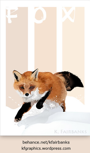 Winter Fox digital drawing (with Text Design) by K. Fairbanks
