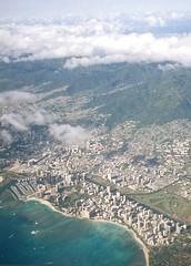 (fritz london) Tags: color film skyline plane 35mm landscape hawaii view waikiki oahu honolulu halfframe ektar olympuspenee2 kodakektar100