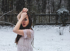 winter's first snow (Camille Wilson Photography) Tags: lighting winter portrait white selfportrait snow ga hair eos rebel 50mm dof bokeh background naturallight selfie fahion t2i