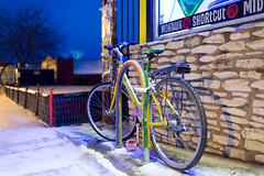 Warm Winter Bicycle Parking. (-Dons) Tags: usa snow birds bicycle austin texas unitedstates tx bikerack bikelock knitbomb