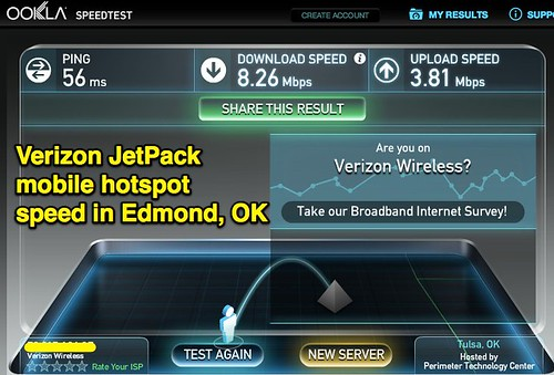Verizon JetPack mobile hotspot speed in by Wesley Fryer, on Flickr