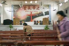 God is a love (Frans Schellekens) Tags: china church countryside women cross religion churches service mis kerk banks gebouw vrouwen anhui banken kruis platteland believers cleansing schoonmaken religie kerken altaar kerkdienst gelovigen