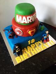 Marvel Birthday Cake (Dani Coe) Tags: birthday cake spiderman 18th superman batman icing hulk thor marvel logos