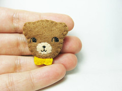 Tiny curious bear felt brooch (hanaletters) Tags: bear sea brown green coral pin handmade brooch felt fox etsy hanaletters