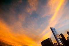 Sky and Steel (Andy Marfia) Tags: sunset sky orange chicago glass skyline architecture loop steel millenniumpark buldings f63 iso160 150sec d7100 1685mm