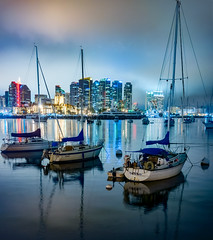Foggy Night on the Bay (pixelmama) Tags: california longexposure fog night reflections sandiego explore bayarea sailboats sandiegobay harbordrive sandiegoharbor pixelmama