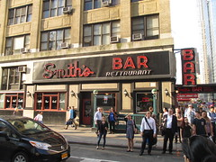 Smiths Bar Restaurant Grill on corner of 44th St 6031 (Brechtbug) Tags: street new york city nyc light red west green film kitchen sign bar corner subway restaurant evening globe neon afternoon clinton cab taxi hell entrance smith s grill rush hour pedestrians around avenue 8th smiths 44th milling hells 2015 07072015